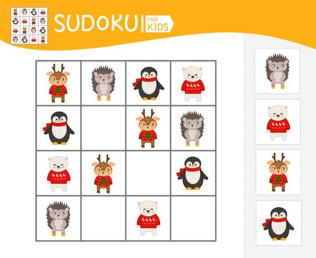 Sudoku game for children with pictures. Kids activity sheet.  Winter collection.