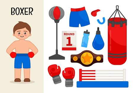 Vector character boxer. Illustrations of boxer equipment. Set of cartoon professions.