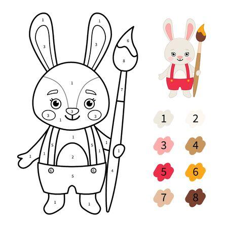 Coloring book for children. Cute cartoon rabbit with brush. Banco de Imagens - 130736386