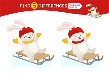 Find differences.  Educational game for children. Cartoon vector illustration of bunny riding a sled. Banco de Imagens - 130736446