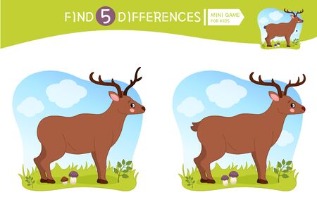 Find differences.  Educational game for children.  Forest animals. Cartoon vector illustration of cute deer.