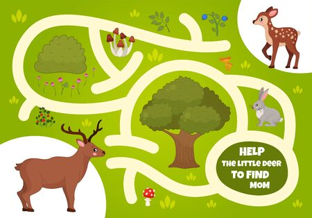 Maze game for children. Forest animals. Cartoon cute deer.