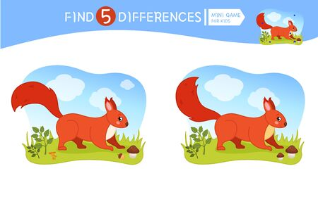 Find differences.  Educational game for children.  Forest animals. Cartoon vector illustration of cute squirrel. Banco de Imagens - 130736457