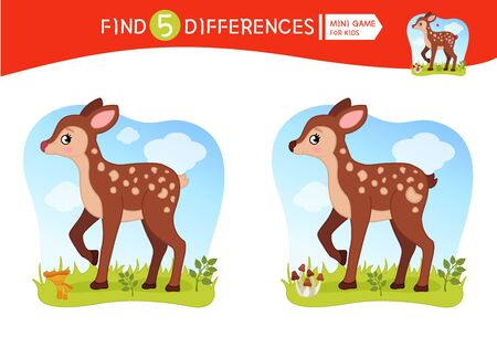 Find differences.  Educational game for children.  Forest animals. Cartoon vector illustration of cute fawn. Banco de Imagens - 130736456