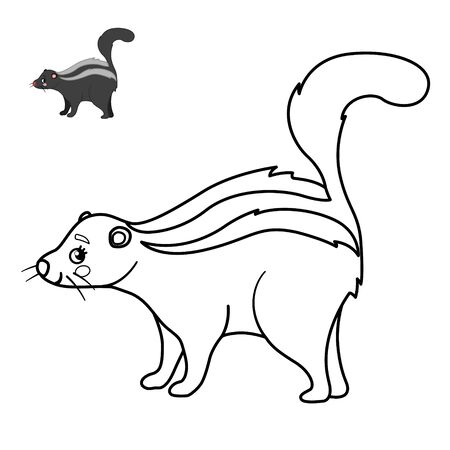 Coloring book for children. Forest animals. Cartoon cute skunk.