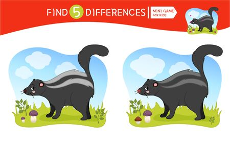 Find differences.  Educational game for children.  Forest animals. Cartoon vector illustration of cute skunk.