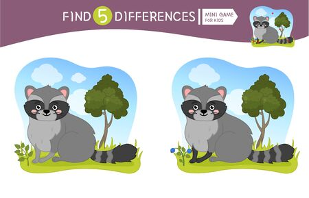 Find differences.  Educational game for children.  Forest animals. Cartoon vector illustration of cute raccoon.