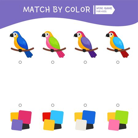 Matching children educational game. Match of parrots and color palettes. Activity for pre sÑ�hool years kids and toddlers. Ilustração