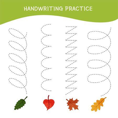Handwriting practice sheet. Basic writing. Educational game for children.  Cartoon leafs.