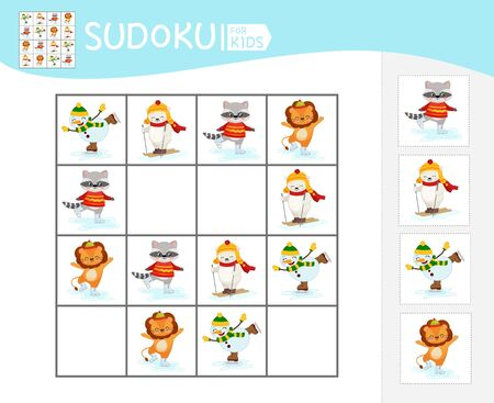 Sudoku game for children with pictures. Kids activity sheet.  Cartoon cute animals. Winter entertainment.
