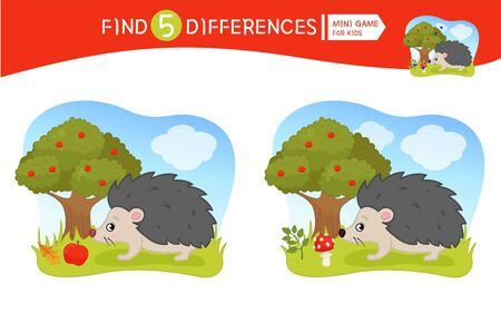 Find differences.  Educational game for children.  Forest animals. Cartoon vector illustration of cute hedgehog.