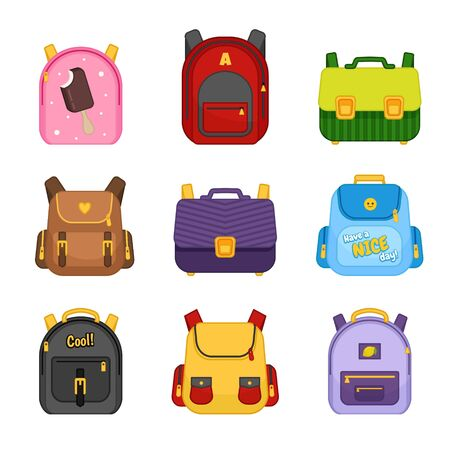 Vector collection of multicolored school backpacks. Cartoon bags with cute prints for school children and kids.