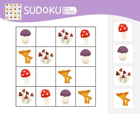 Sudoku game for children with pictures. Kids activity sheet.  Cartoon mushrooms.