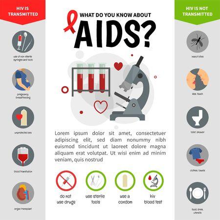 Vector medical poster AIDS. Medical vector infographics. Reklamní fotografie - 130736562