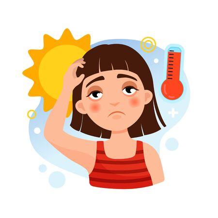 Illustration vectorielle d'une fille sous le soleil. Notion de coup de chaleur.