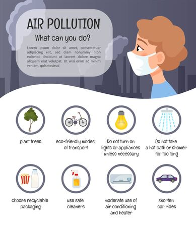Infographics air pollution. What can you do? Icon set. Foto de archivo - 130736627