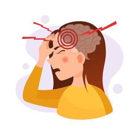 Vector illustration of a cute girl with a headache. The concept of headache, stress, migraine.