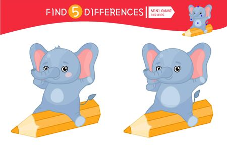 Find differences.  Educational game for children. Cartoon vector illustration  of cute elephant.