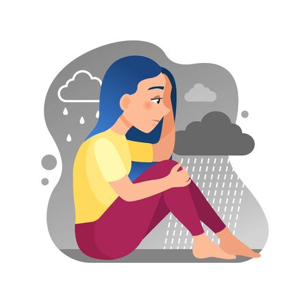 Vector illustration of a cute girl sitting in the rain. Symbol of sadness, and depression.