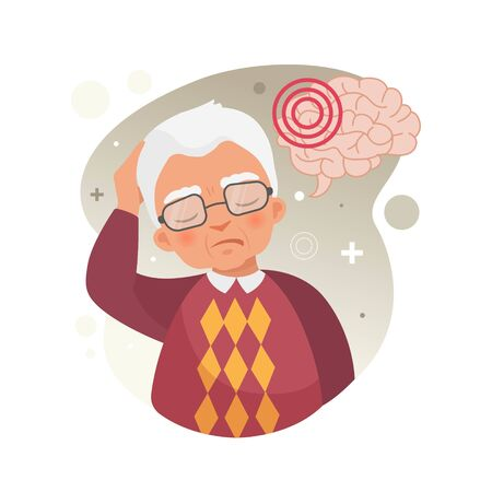 Vector illustration of a old man holds his head. The concept of headache, stroke, migraine.