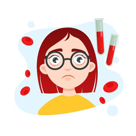 Illustration of a cute girl in glasses. Blood disease concept.