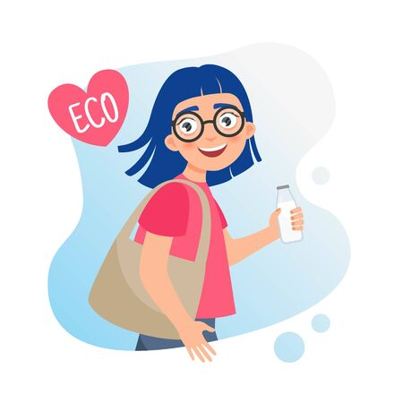 Illustration of a cute girl with eco bag.  Zero waste concept. Stock Illustratie