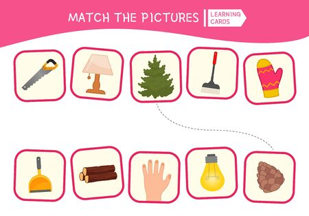 Matching children educational game. Match of logic pairs. Activity for pre s�hool years kids and toddlers.