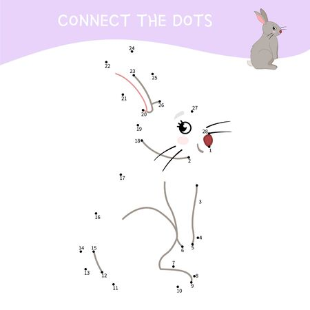 Educational game for kids. Dot to dot game for children. Cartoon cute hare.