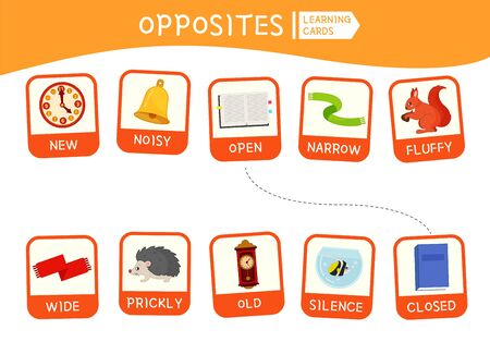 Matching children educational game. Match of opposites. Activity for pre s�hool years kids and toddlers. Banco de Imagens - 130736692