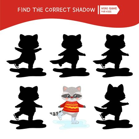 Educational  game for children. Find the right shadow. Kids activity with cute raccoon skates.