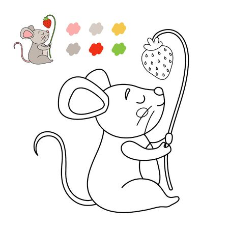 Coloring book for children. Vector illustration of a cute mouse with strawberries. Иллюстрация