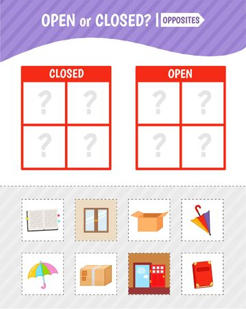 Educational game for children with pictures. Kids activity cards. Open or closed? Opposites.