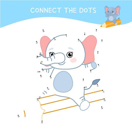 Educational game for kids. Dot to dot game for children. Cartoon cute elephant  with pencil. Stock Illustratie