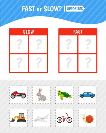 Educational game for children with pictures. Kids activity cards. Fast or slow? Opposites.