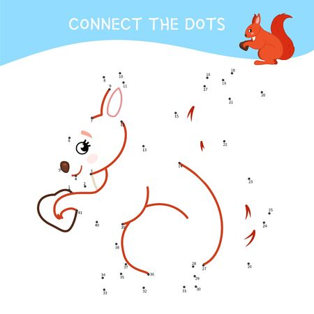 Educational game for kids. Dot to dot game for children. Forest animals. Cartoon cute squirrel.
