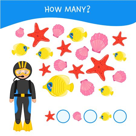 Counting educational children game, math kids activity sheet. How many objects task. Cartoon cute diver. Stock Illustratie