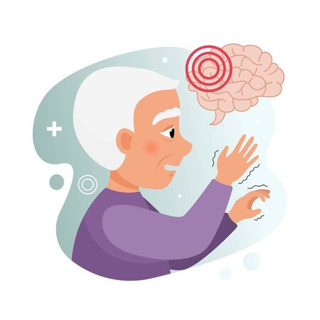 Vector illustration of an elderly man with parkinsons disease. Brain disease concept.