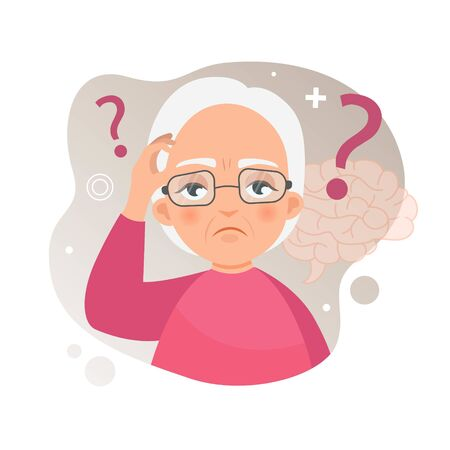 Vector illustration of an old woman with Alzheimers disease. Brain disease concept. Stock Illustratie