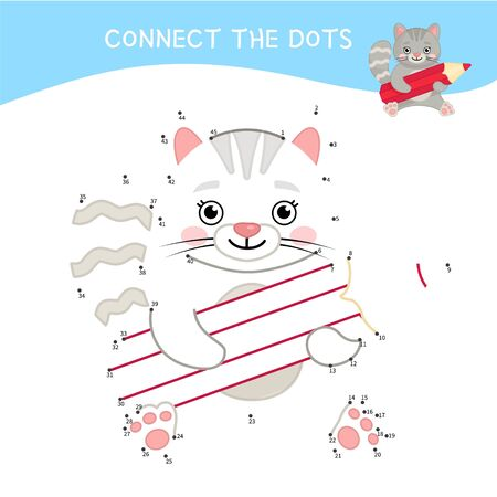 Educational game for kids. Dot to dot game for children. Cartoon cute cat with pencil.