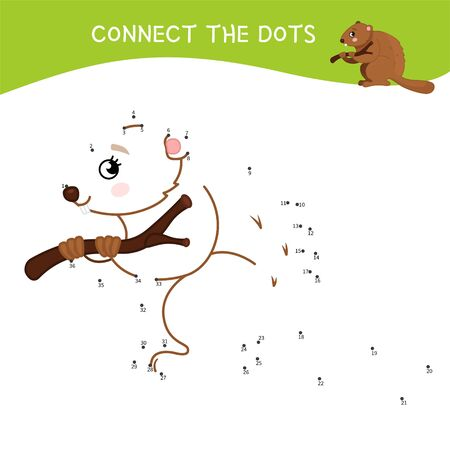 Educational game for kids. Dot to dot game for children. Forest animals. Cartoon cute beaver. Stock Illustratie