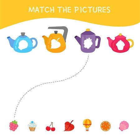 Matching children educational game. Match of kettles and prints. Activity for pre s�hool