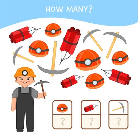 Counting educational children game, math kids activity sheet. How many objects task. Cartoon miner and equipment