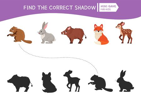 Educational  game for children. Find the right shadow. Kids activity with cute cartoon forest animals.