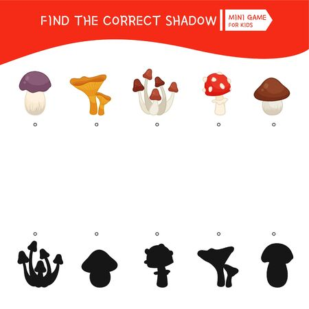 Educational  game for children. Find the right shadow. Kids activity with cartoon forest mushrooms. Illustration