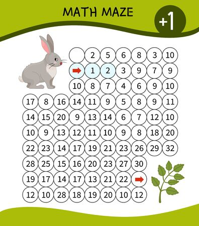 Maze game for children. Material for learning mathematics. Cartoon cute hare.