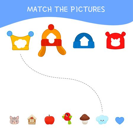 Matching children educational game. Match of winter hats and prints. Activity for pre s�hool