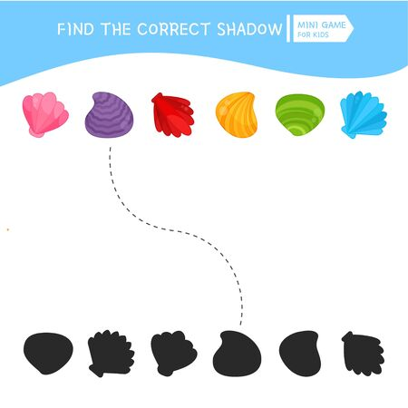 Educational  game for children. Find the right shadow. Kids activity with multi colored seashells.