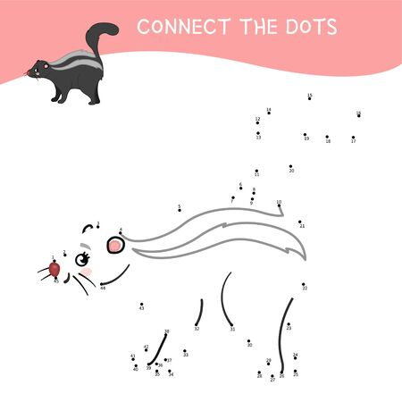 Educational game for kids. Dot to dot game for children. Cartoon cute skunk. Forest animals.