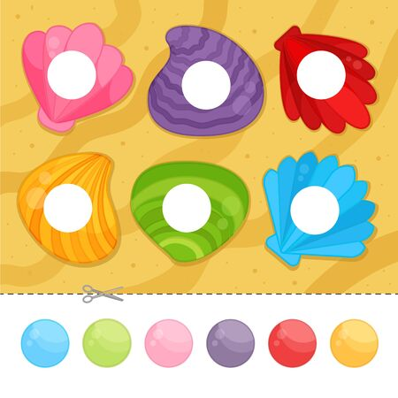 Educational  game for children. Cut and glue on the right place. Material for kids to learn color. Cartoon seashells.