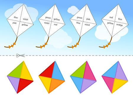 Educational game for children. Cut and glue on the right place. Material for kids to learn color. Cartoon kites in the sky.